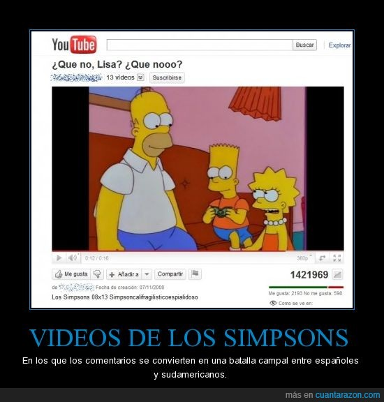comentarios,doblaje,españoles,los simpsons,pesados,sudamericanos,video,youtube