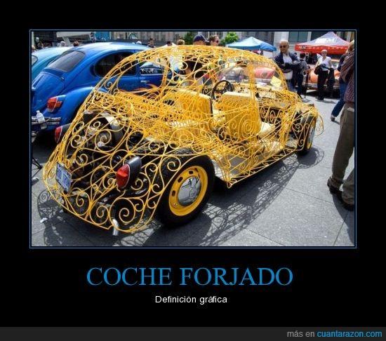 amarillo,coche,forja,hierro,original