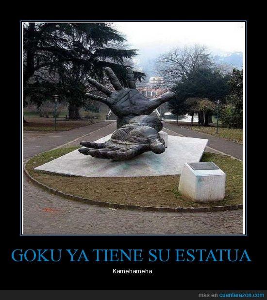 estatua,goku,homenaje,kamehameha,manos