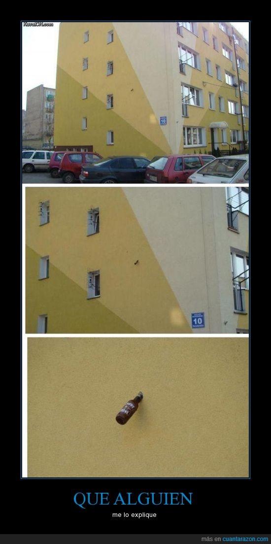 agujero,botella,cerveza,edificio,pared,piso