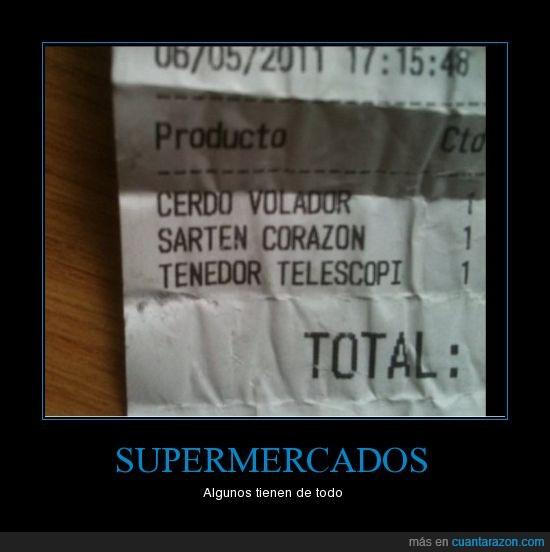 cerdo,sarten,supermercado,tenedor,ticket