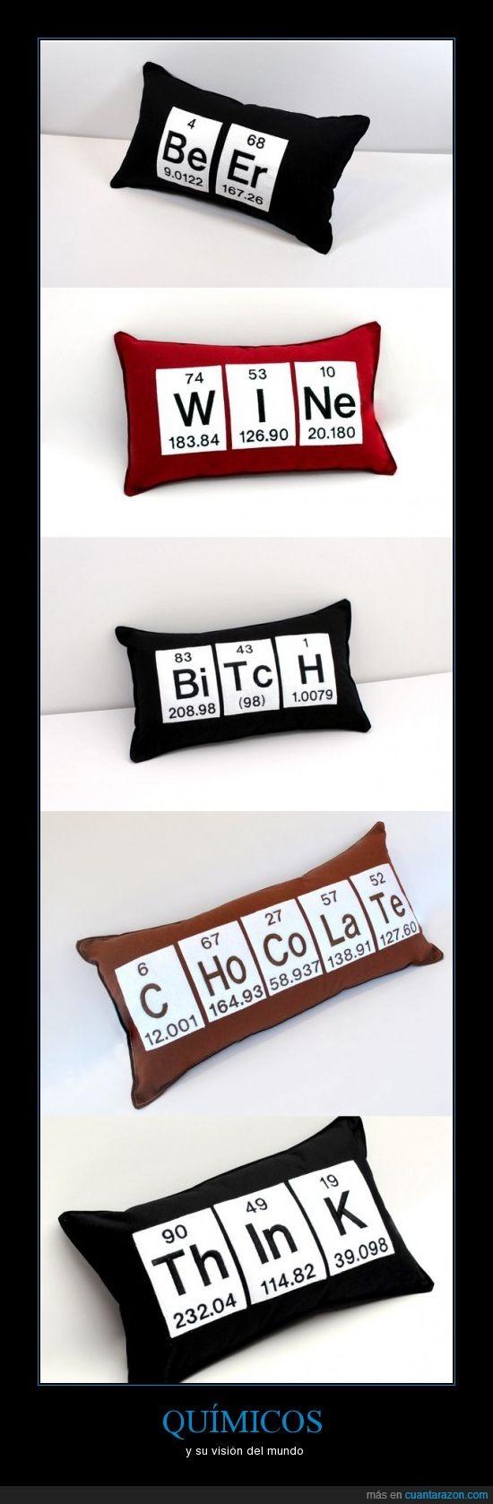 cojines,letras,químicos