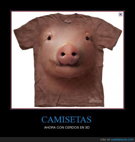 3D,camiseta,cerdo