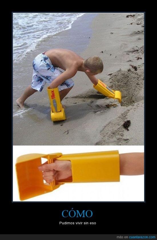 agujero,arena,castillo,guante,niño,playa,raro