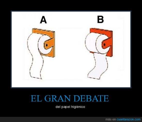 a,b,debate,higiénico,papel,rollo