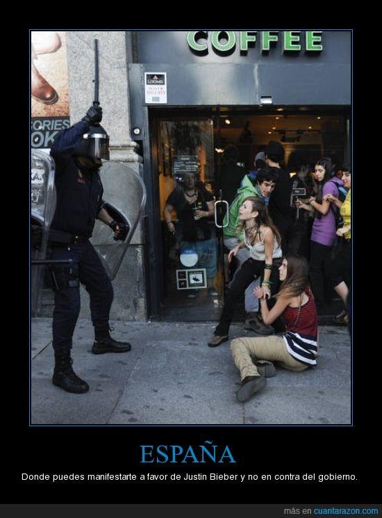 #nolesvotes,acampada sol,antidisturbios,democracia,españa,justin bieber,policia