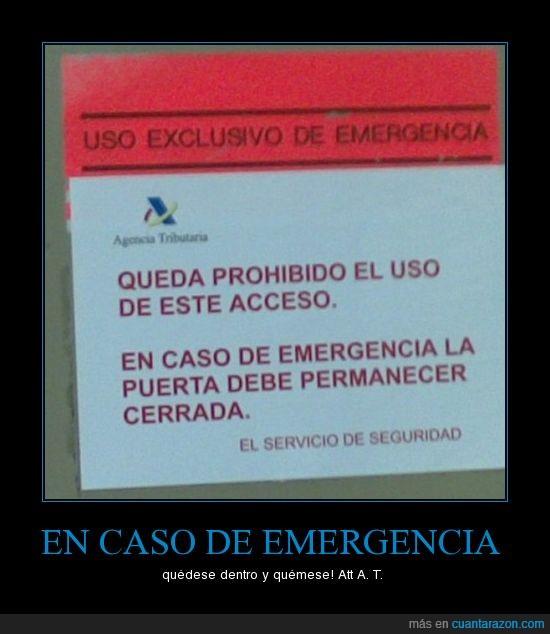 agencia tributaria,salida emergencias