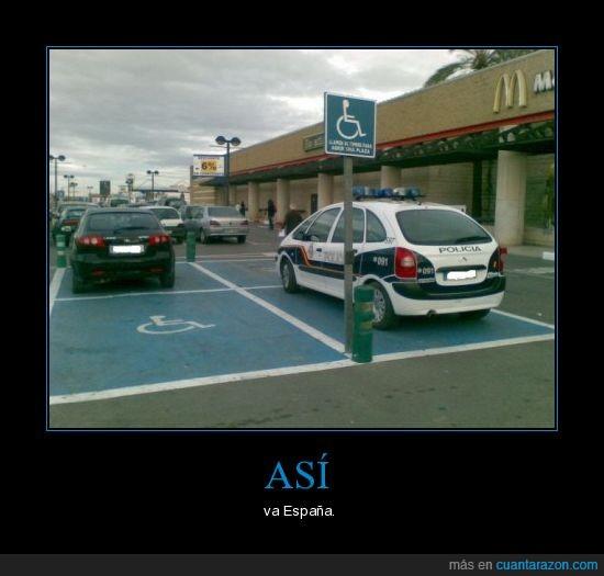 aparcado,coche,España,mal,minusválidos,policía