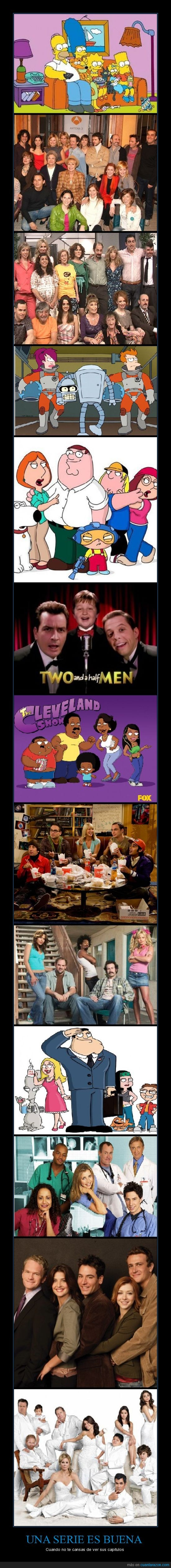 american dad,anhqv,aqui no hay quien viva,como conoci a vuestra madre,dos hombres y medio,el show de cleveland,family guy,futurama,how i meet your mother,la que se avecina,lqsa,me llamo earl,modern family,my name is earl,padre de familia,padre made in usa,scrubs,simpsons,the big bang theory,the cleveland show,two and a half men