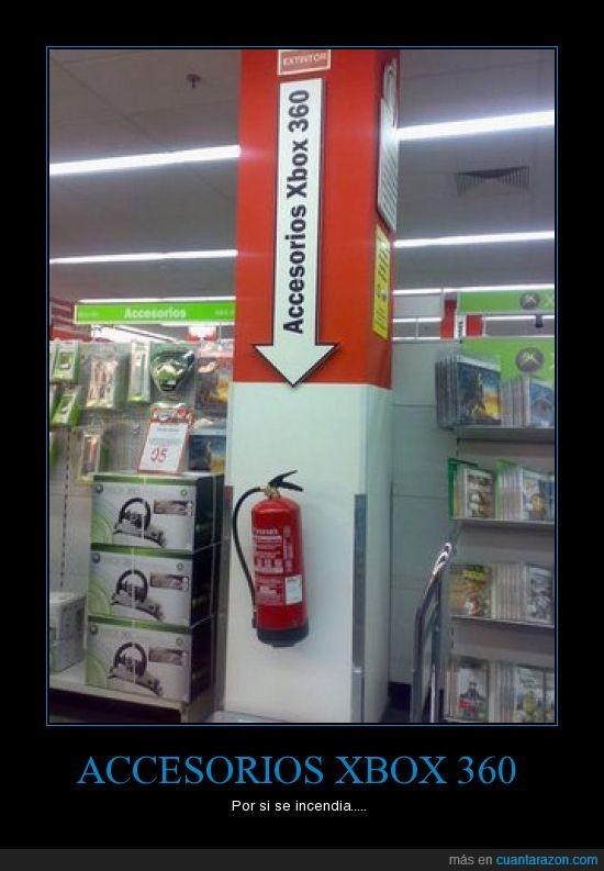 accesorios,complementos,extintor,fuego,quemar,Xbox 360