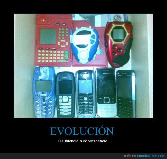 adolescencia,cajon,digimon,evolucion,infancia,moviles,nokia,pokemon