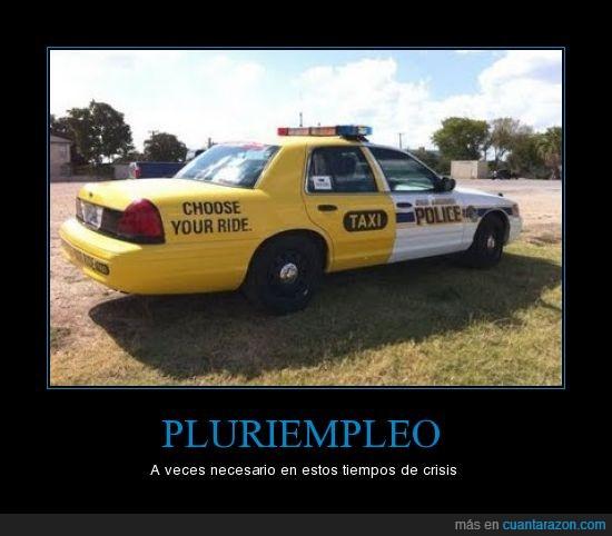 coche,crisis,pluriempleo,policía,taxi