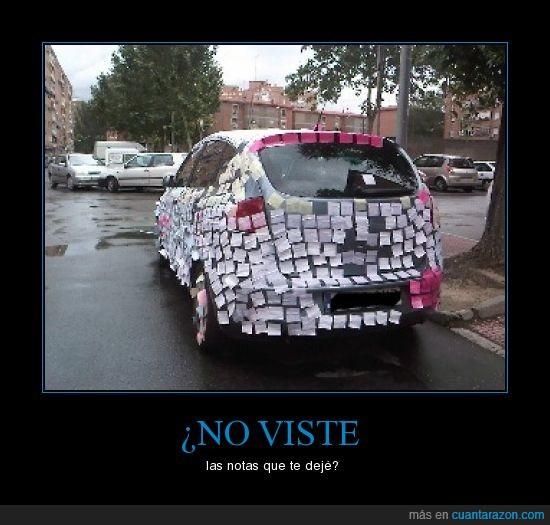 coche,notas,postit