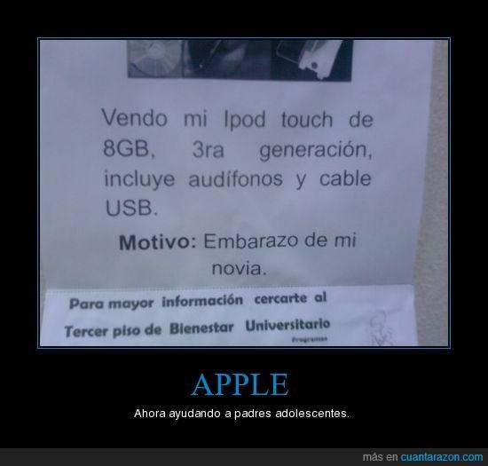 Apple,Embarazo,Ipod,motivo,universidad