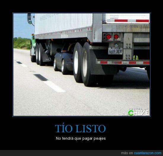 aprovechado,camion,coche,listo,peaje