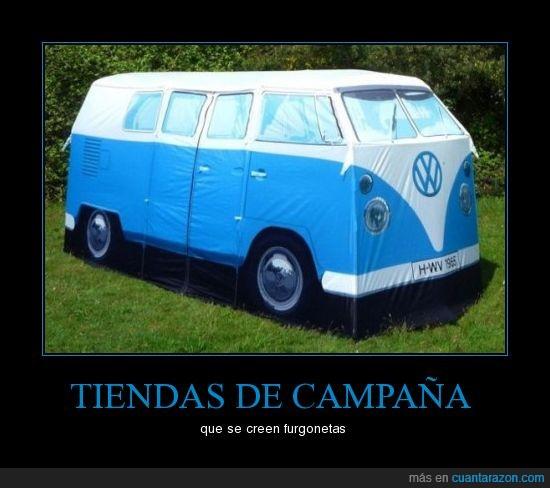 azul,campaña,camper,furgoneta,tienda