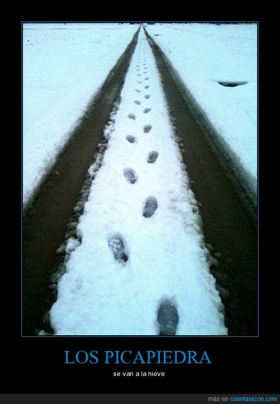 huella,nieve,picapiedra,pisadas