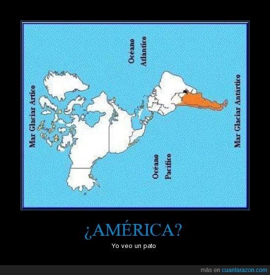america,continente,forma,pato