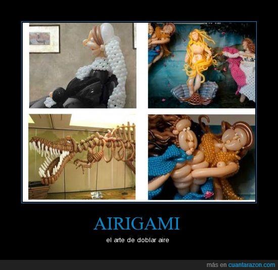 aire,airigami,doblar,globos