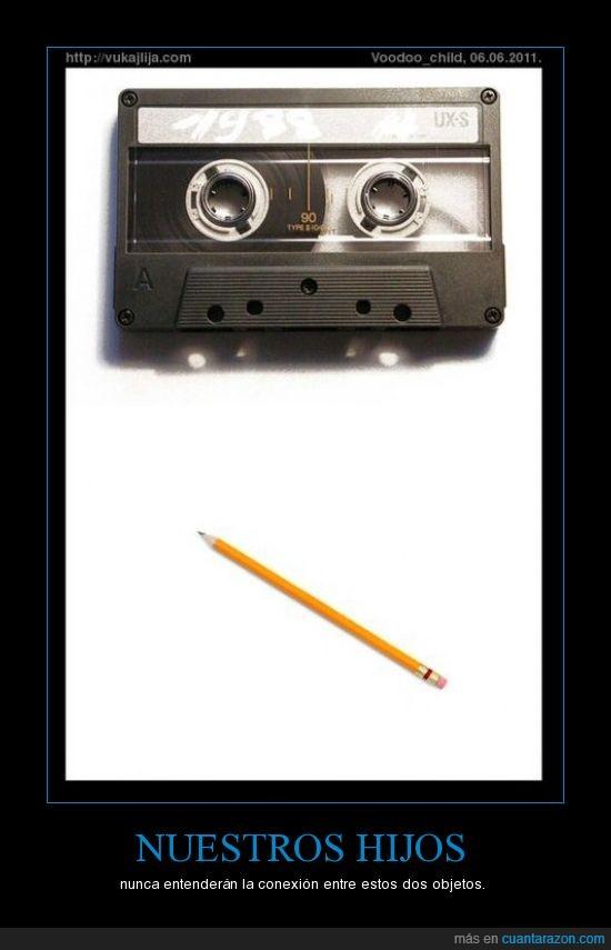cassette,lápiz,música,rebobinar