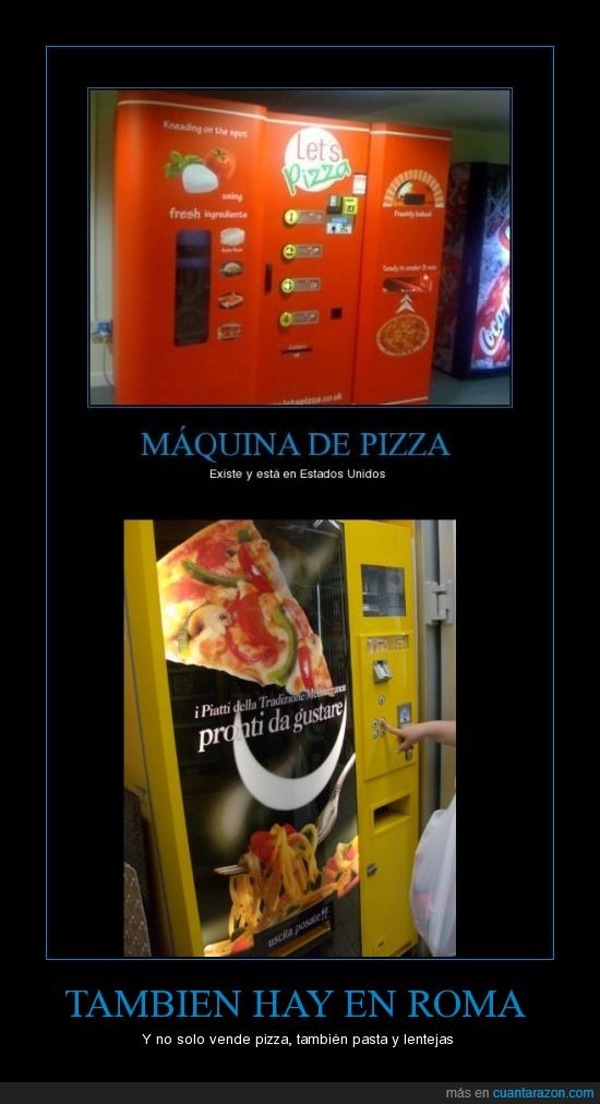 lentejas,máquina,pasta,pizza,roma
