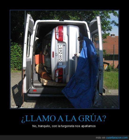 coche,dentro,furgoneta,grua