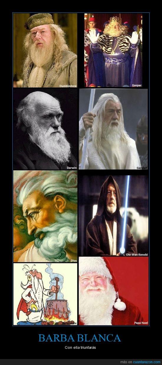 barba,blanca,Darwin,Dios,Dumbledore,Gandalf,Gaspar,Obi Wan,Panoramix,Papa Noel