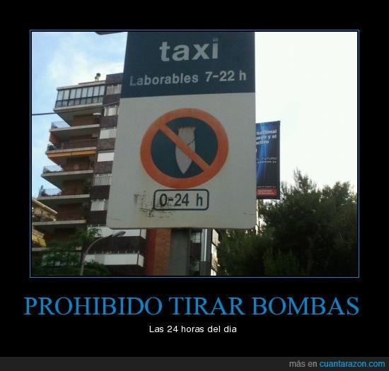 bombas,cartel,prohibido,tirar