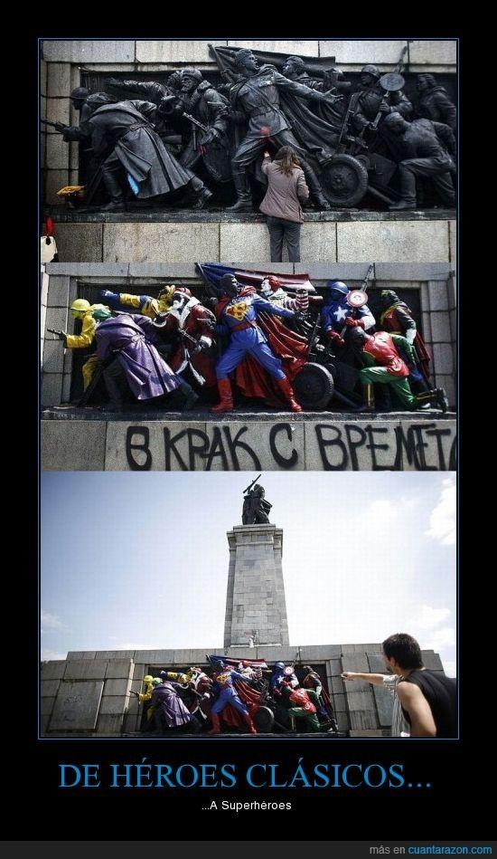 escultura,grafiti,superheroes