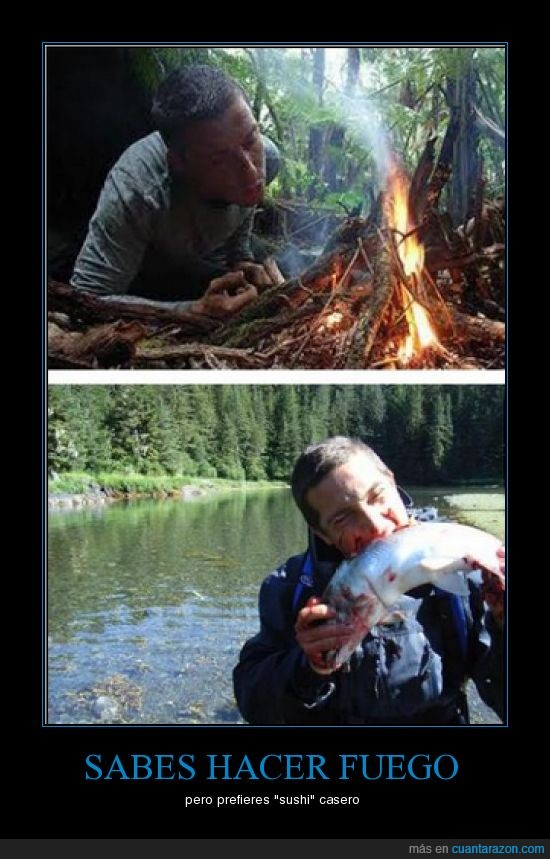 el ultimo superviviente,fuego,pescado crudo,sushi