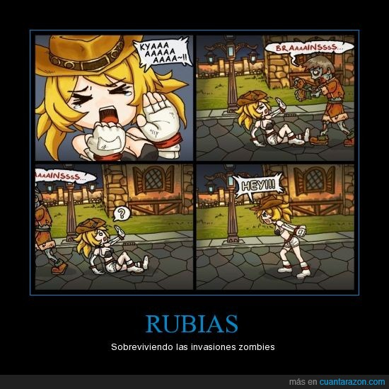 chica,fail,lol,mujer,rubia,zombie
