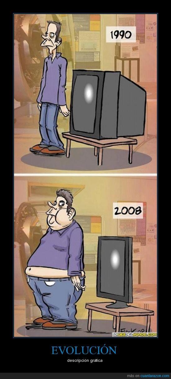 delgada,evolución,gordo,plana,tele