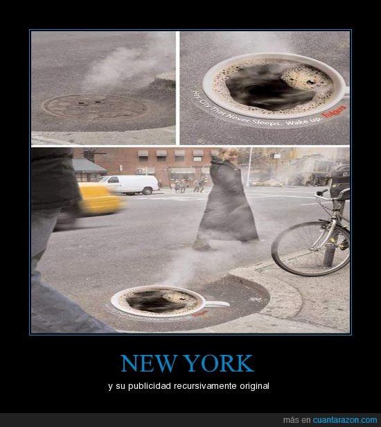 café,friki,humo,new york,original,publicidad