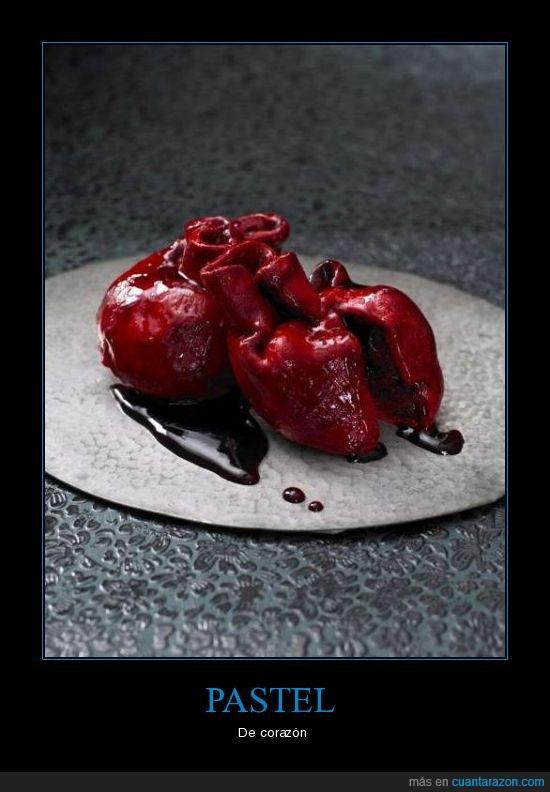asqueroso,comer,corazón,pastel