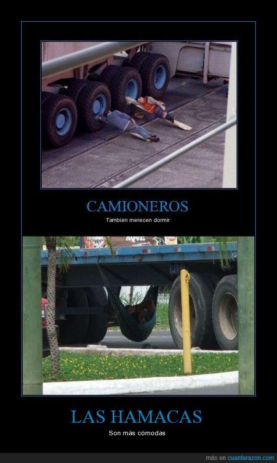 camioneros,dormir,hamacas