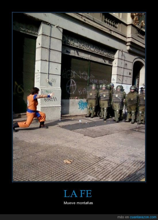disturbios,dragon ball,gokhu,kame-kame-há,manifestacion,policia