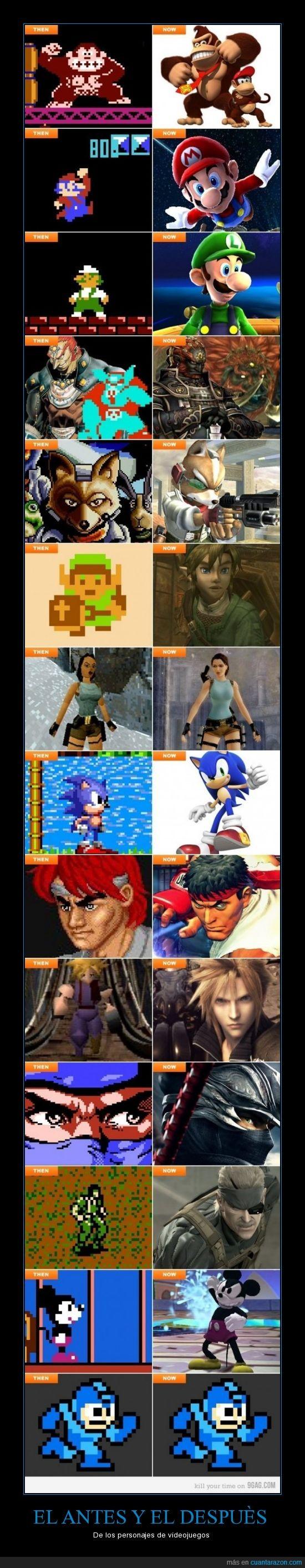 antes,despues,juegos,personajes