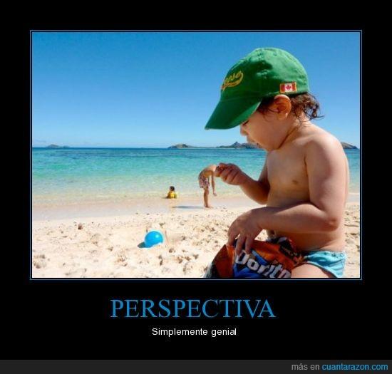 doritos,hombre,niño,perspectiva,playa