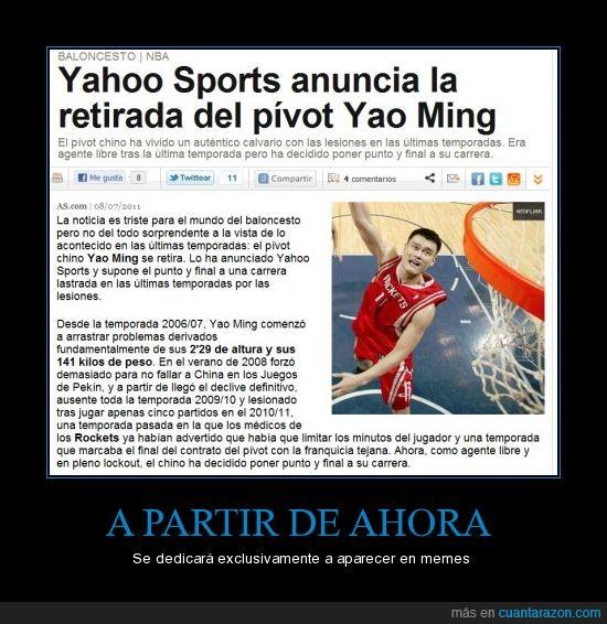 baloncesto,cc,meme,retirada,Yao Ming