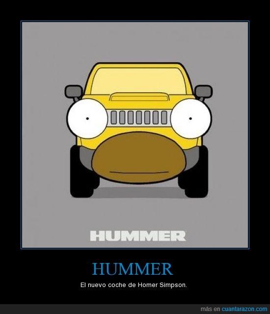 boca,coche,homer simpson,hummer,ojos