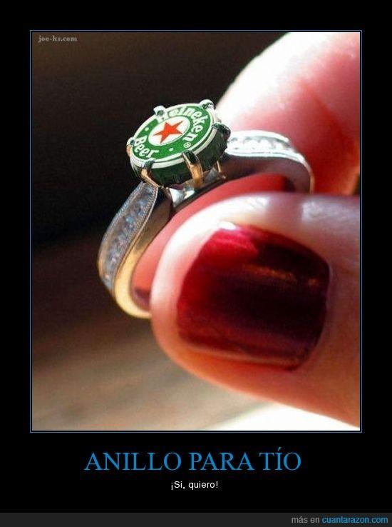 amor,anillo,cerveza,heineken,tios