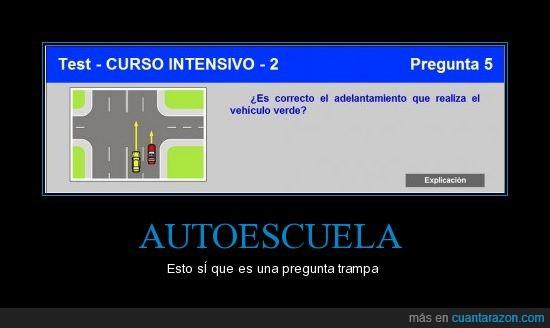 adelantamiento,autoescuela,carriles,coche,doble,test,verde