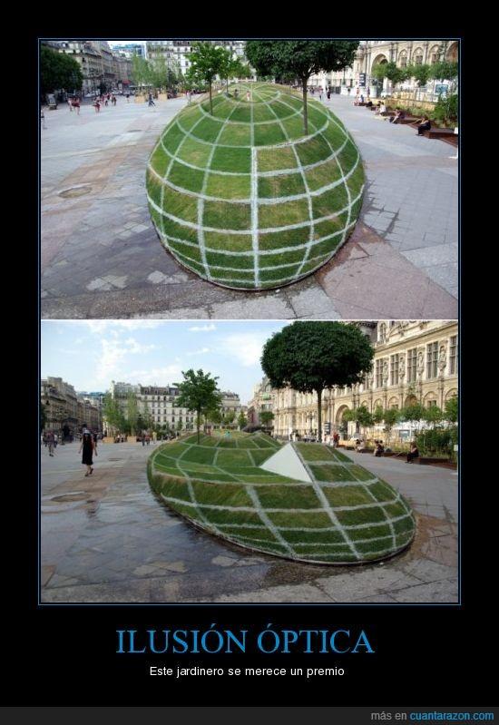 globo,hierba,ilusion optica,jardín,mundo,plaza