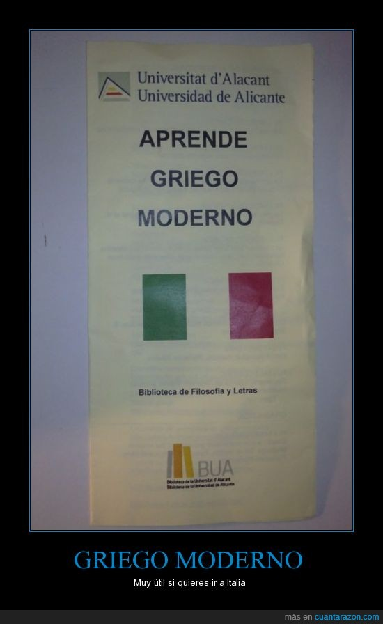 alicante,Griego,Idiomas,Italia,Italiano,universidad