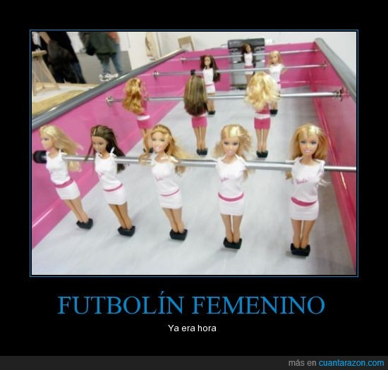 barbie,chicas,deporte,football,futbol,futbolin,inventos,rosa