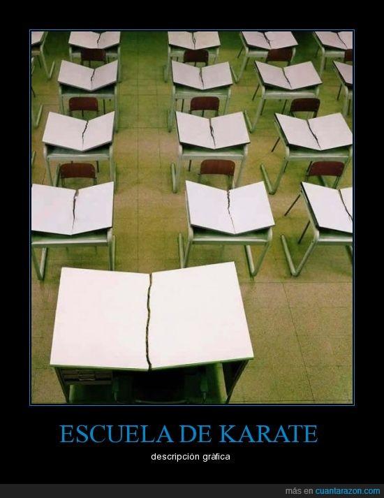 escuela,karate,mesas,rotas