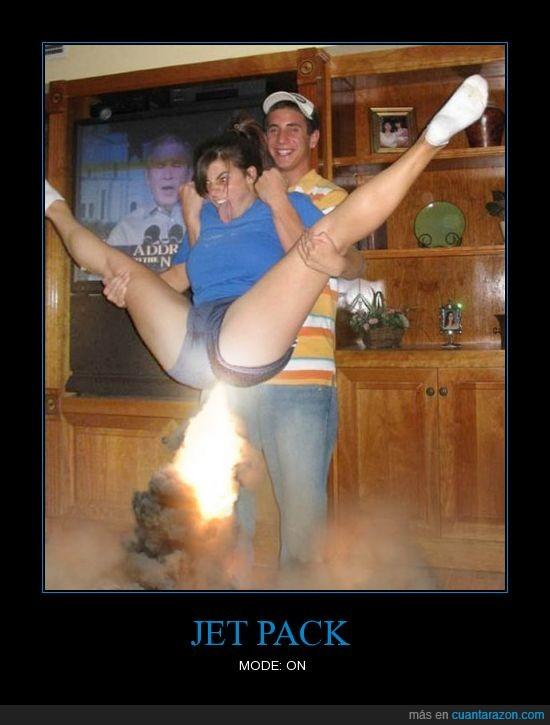 chica,cohete,fuego,jetpack