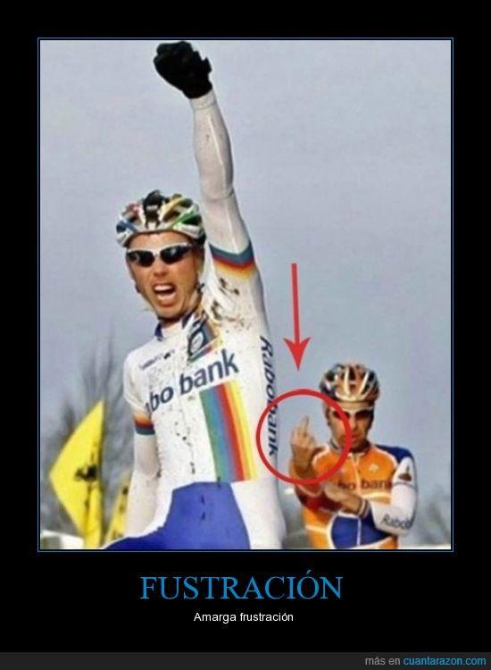 ciclismo,corte,dedo,fustración,ganador,mangas