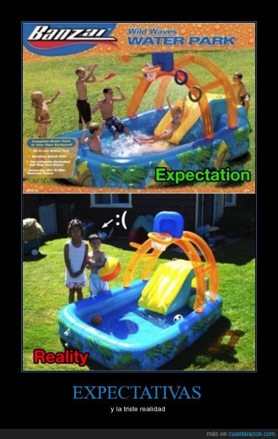 diversión,expectativas,niños,piscina,realidad