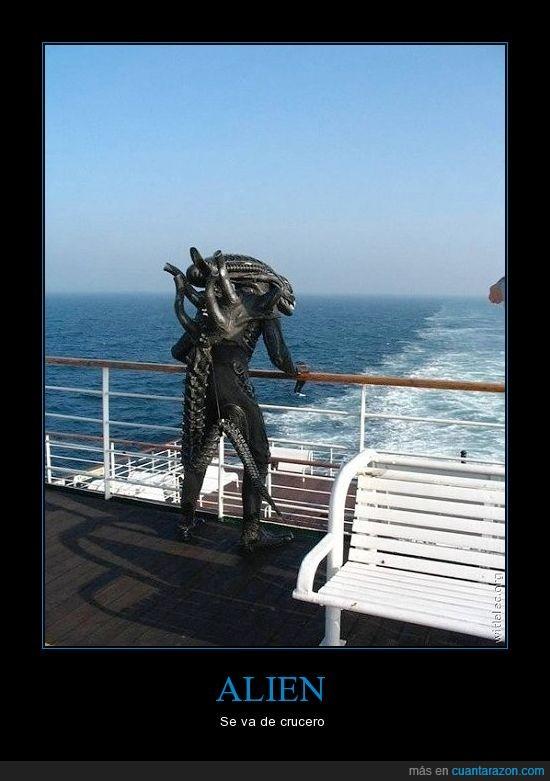 alien,crucero,estresado,mar,matar,vacaciones
